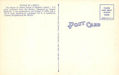top017489 - Statue of Liberty Post Card  back