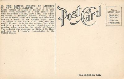 top017525 - Statue of Liberty Post Card  back