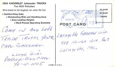 top025875 - Trucks / Buses /  Vans Post Card  back