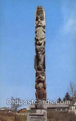 tot001009 - Wrangell, Alaska, USA Kicksetti Totem Pole Postcard Post Card Old Vintage Antique