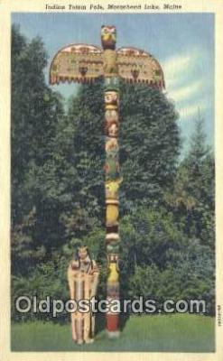 tot001011 - Moosehead Lake, Maine, USA Indian Totem Pole Postcard Post Card Old Vintage Antique