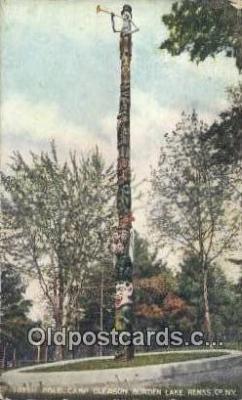 tot001018 - Burden Lake, Renss, Co. NY Camp Gleason, Totem Pole Postcard Post Card Old Vintage Antique