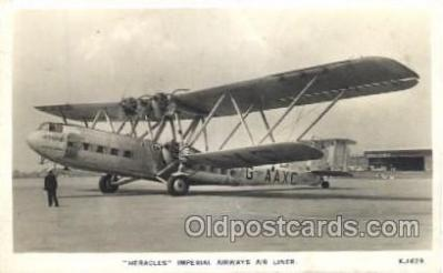 tra001186 - Heracles, Imperial Airways Air Liner Early Air Airplane Postcard Postcards