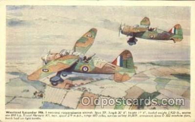tra001234 - Westland Lysander Mk. I Aviation, Airplane Postcard Postcards