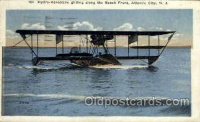 tra001243 - Hydro-Aeroplane, The beach Front, Atlantic City, NJ, New Jersy, USA Early Air Postcard Post Card Old Vintage Antique