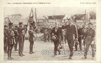 tra001245 - Col. Lindbergh Presented with French Flag Early Air Postcard Post Card Old Vintage Antique