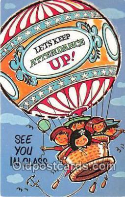 tra004138 - Lets Keep Attendance Up Air Balloon Postcard Post Card