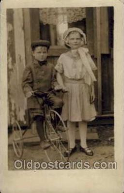 tra005056 - Chidren on Bicycles, tricycles postcard postcards