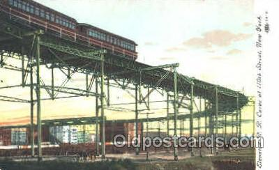 tra006044 - Elevated RR Curve, New York, NY, USA Train Trains, Postcard Postcards