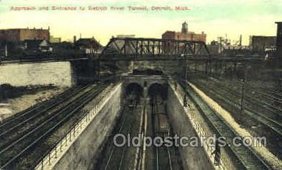 tra006116 - Detroit River Tunnel, Detroit, MI, USA Train Trains, Postcard Postcards