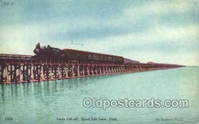 tra006198 - Great Salt Lake, Utah, Usa Train Trains Locomotive, Steam Engine,  Postcard Postcards