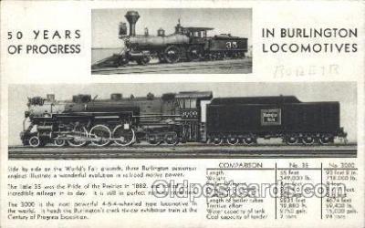 tra006212 - Burlington Locomotives Train Trains Locomotive, Steam Engine,  Postcard Postcards
