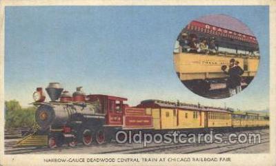 tra006238 - Narrow-Gauge Deawood Central, chicago Railroad Fair Train Trains Locomotive, Steam Engine,  Postcard Postcards