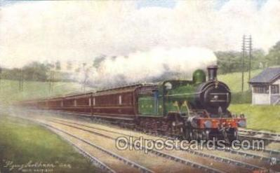 tra006244 - Flying Scothman Train Trains Locomotive, Steam Engine,  Postcard Postcards