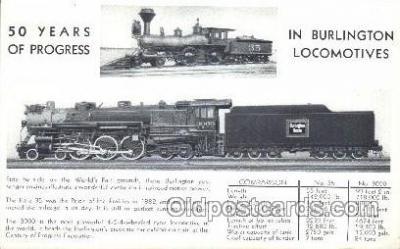 tra006246 - Burlington Locomotives Train Trains Locomotive, Steam Engine,  Postcard Postcards
