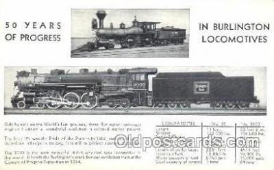 tra006259 - Burlington Locomotives Train Trains Locomotive, Steam Engine,  Postcard Postcards