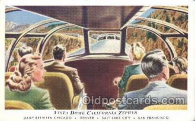 tra006268 - Vista Dome California Zephyr Train Trains Locomotive, Steam Engine,  Postcard Postcards