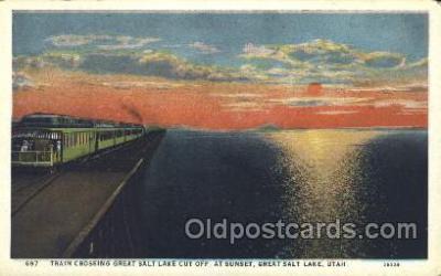 tra006275 - Sunset, Great Salt Lake, Utah, Usa Train Trains Locomotive, Steam Engine,  Postcard Postcards