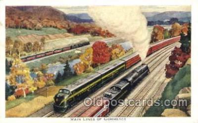 tra006276 - Main Lines of Commerce, Pennsylvania Railroad, Baldwin Babyface, Train Trains Locomotive, Steam Engine,  Postcard Postcards