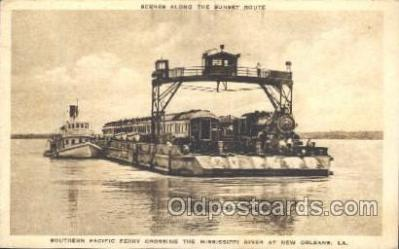 tra006288 - Southern Pacific Ferry crossing the Mississippi River at new Orleans, LA, USA  Train Trains Locomotive, Steam Engine,  Postcard Postcards