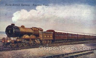 tra006305 - North British Railway, Edinburgh Express Train Trains Locomotive, Steam Engine,  Postcard Postcards