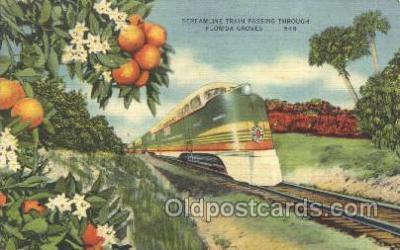 tra006309 - The Orange Groves, Florida, USA,  Seaboard Air Line, Train Trains Locomotive, Steam Engine,  Postcard Postcards
