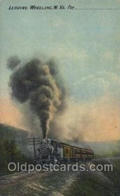 tra006342 - Leaving Wheeling, West Virginia, USA Train Trains Locomotive, Steam Engine,  Postcard Postcards