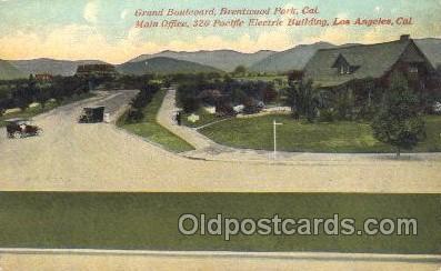 tra006344 - Grande Boulevard, Los Angeles, California, Usa Train Trains Locomotive, Steam Engine,  Postcard Postcards