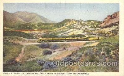 tra006375 - Santa Fe Railway, Diesel-Powered Train Trains Locomotive, Steam Engine,  Postcard Postcards