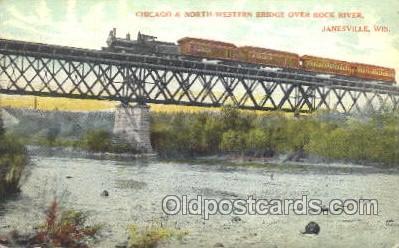tra006378 - Rock River, Janesville, Wis, Usa Train Trains Locomotive, Steam Engine,  Postcard Postcards