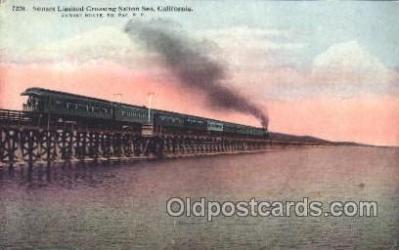tra006393 - Sunset Limited Crossing Salton Sea California, USA  Train Trains Locomotive, Steam Engine,  Postcard Postcards