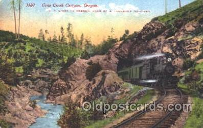 tra006407 - Cow Creek Canyon, Oregon, Usa Train Trains Locomotive, Steam Engine,  Postcard Postcards