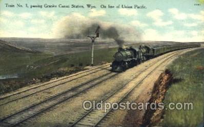 tra006419 - Granite Canon Station Wyominbg, On line of Union Pacific, Train Trains Locomotive, Steam Engine,  Postcard Postcards