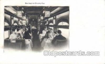 tra006436 - Burlington Dining Car Locomotives Train Trains Locomotive, Steam Engine,  Postcard Postcards