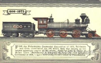 tra006447 - Philadelphia Centennial Exposition of 1876, Train Trains Locomotive, Steam Engine,  Postcard Postcards