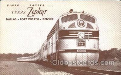 tra006470 - Texas Zephyr Train Trains Locomotive, Steam Engine,  Postcard Postcards