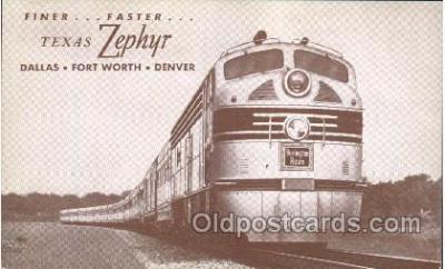 tra006481 - Texas Zephyr Train Trains Locomotive, Steam Engine,  Postcard Postcards