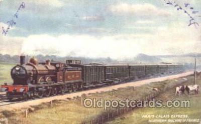 tra006491 - Raphael Tuck & Sons, Paris-Calais Express Train Trains Locomotive, Steam Engine,  Postcard Postcards