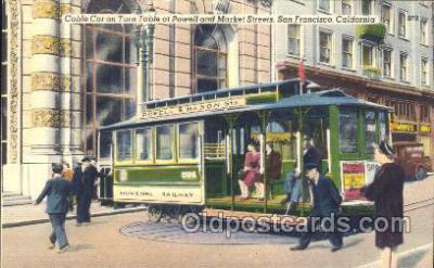 tra006528 - Cable cars, San Francisco, USA Train, Trains, Railroad, Railroads Postcard Postcards