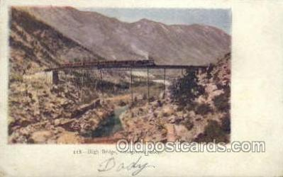 tra006563 - High Bridge Train, Trains, Locomotive, Old Vintage Antique Postcard Post Card