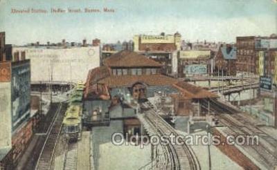 tra006574 - Elevated Station, Boston, MA USA Train, Trains, Locomotive, Old Vintage Antique Postcard Post Card