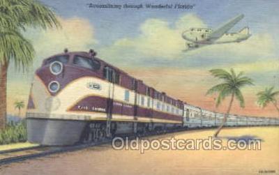 tra006590 - Streamliner, FL USA Train, Trains, Locomotive, Old Vintage Antique Postcard Post Card
