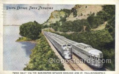 tra006594 - Vista Dome Twin Zephyrs, Chicago, IL USA Train, Trains, Locomotive, Old Vintage Antique Postcard Post Card