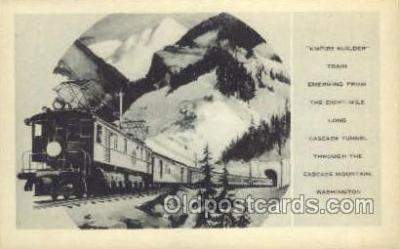 tra006598 - Empire Builder Train, Cascade Mts, WA USA Train, Trains, Locomotive, Old Vintage Antique Postcard Post Card