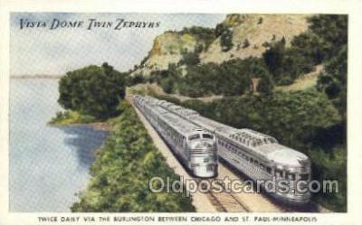 tra006613 - Vista Dome Twin Zephyrs, Chicago, IL USA Train, Trains, Locomotive, Old Vintage Antique Postcard Post Card