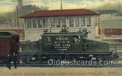 tra006617 - 7505 M.C. R.R. New York Central Lines, Electric Engine, Detroit, MI USA Train, Trains, Locomotive, Old Vintage Antique Postcard Post Card