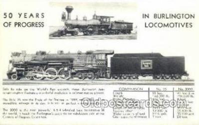 tra006630 - Burlington Locomotives, USA Train, Trains, Locomotive, Old Vintage Antique Postcard Post Card
