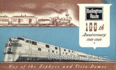 tra006640 - Burlington Lines USA Train, Trains, Locomotive, Old Vintage Antique Postcard Post Card