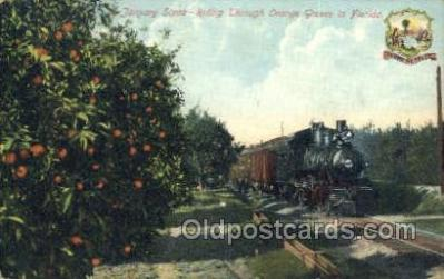tra006654 - January scene, FL USA, Seal on Card Train, Trains, Locomotive, Old Vintage Antique Postcard Post Card