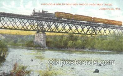tra006655 - Chicago and northwestern, Janesville, WI USA Train, Trains, Locomotive, Old Vintage Antique Postcard Post Card